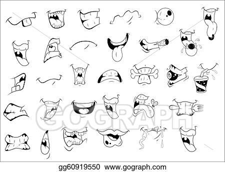 Vector Stock Cartoon Mouth Expressions Stock Clip Art Gg60919550 Gograph