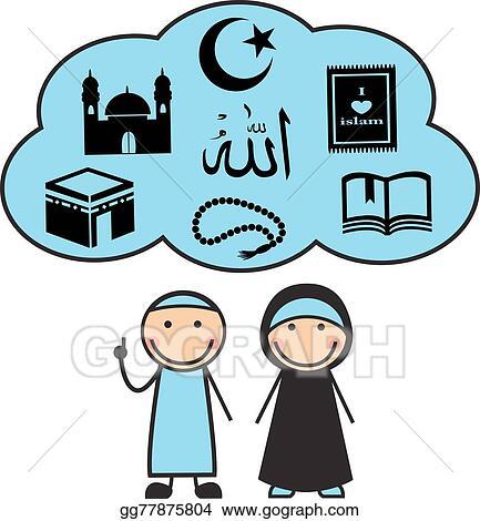 Clip Art Vector Cartoon Muslims And Muslim Symbols Stock Eps