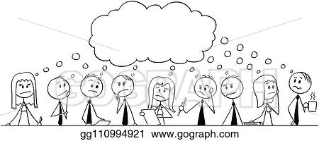 Clip Art Vector Cartoon Of Big Team Of Businessmen During