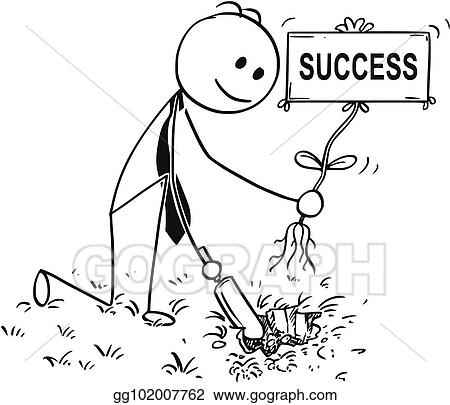 clip art vector cartoon of businessman digging a hole for plant with success sign stock eps gg102007762 gograph cartoon of businessman digging a hole