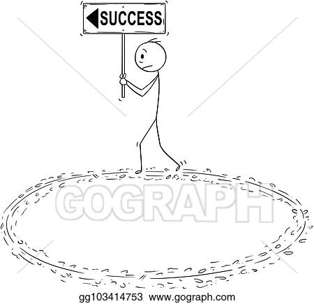vector art cartoon of businessman holding success sign and walking in circle in vain effort clipart drawing gg103414753 gograph cartoon of businessman holding success