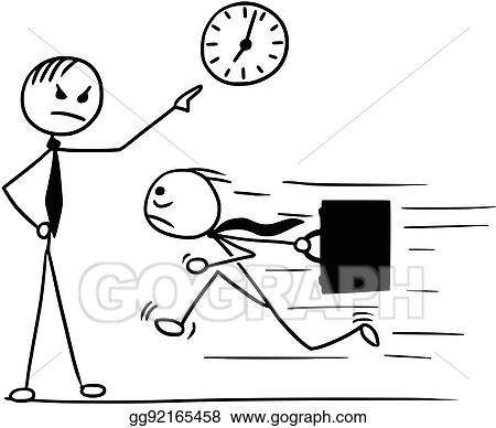 Vector Art Cartoon Of Man Running Late For Work And His Boss