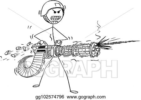 EPS Vector - Cartoon of soldier shooting from rotary machine