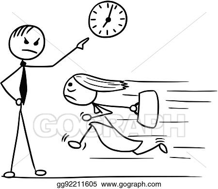 Vector Stock Cartoon Of Woman Running Late For Work And His Boss
