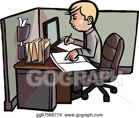 vector illustration cartoon office worker examines book eps rh gograph com busy office worker clipart office worker clipart images