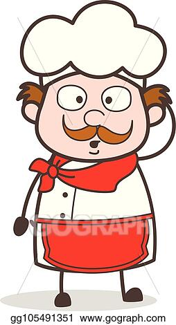Vector Art - Cartoon old chef hushed face  Clipart Drawing