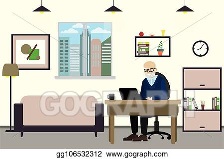 Vector Art Cartoon Old Man With Laptop Working At Home
