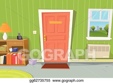 school window clipart. Vector Clipart - Illustration Of A Cartoon Home Interior With Living Room Door Entrance, Various Household Objects And Window Opened On Spring Urban School