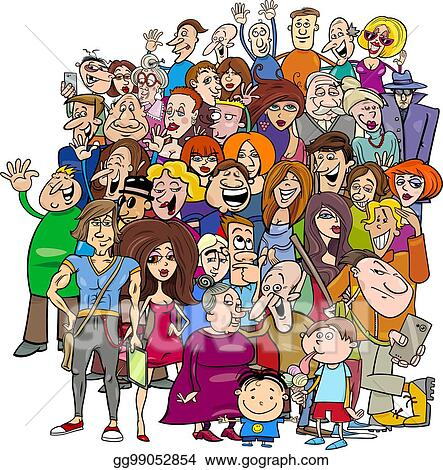 Vector Stock Cartoon People Group In The Crowd Clipart Illustration Gg99052854 Gograph
