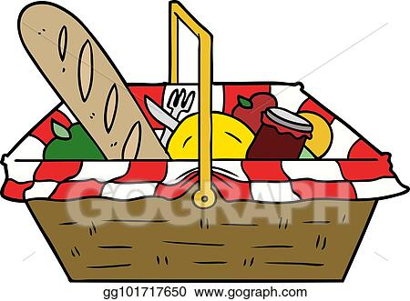 Vector Art Cartoon Picnic Basket Clipart Drawing Gg101717650 Gograph