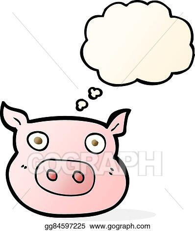 Vector Art Cartoon Pig Face With Thought Bubble Clipart Drawing
