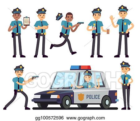 700dd130bad Vector Stock - Cartoon policewoman and policeman characters in ...