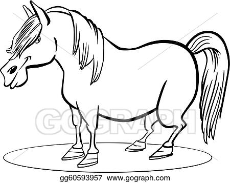 Eps Vector Cartoon Pony Horse Coloring Page Stock Clipart