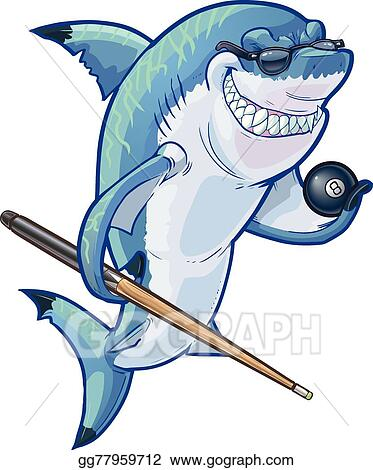 Cartoon Pool Shark With Cue And Ball