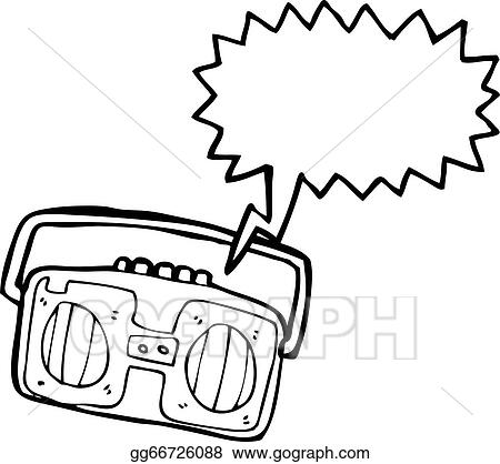 vector art cartoon radio cassette player clipart drawing rh gograph com