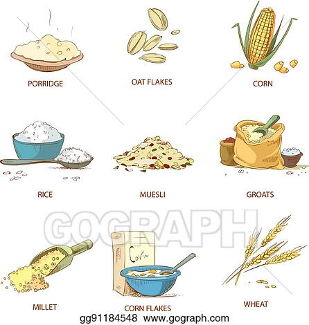 Vector Clipart - Cartoon ripe ears of cereals, countryside