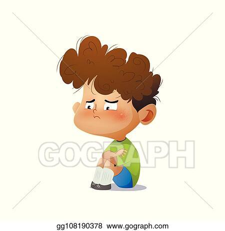 Clip Art Vector Cartoon Sad Boy Stock Eps Gg108190378 Gograph