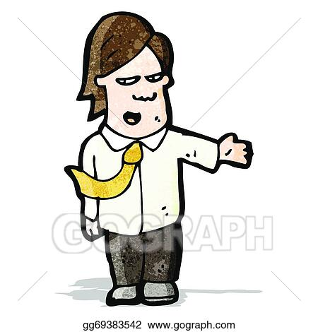 Royalty Free Clip Art Image: Cartoon of a Grinning Salesman Holding a  Contract