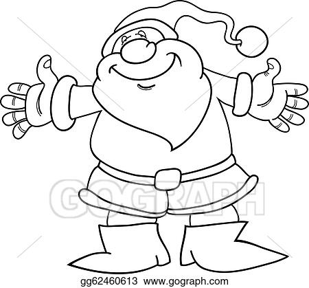 Eps Vector Cartoon Santa Claus For Coloring Book Stock Clipart