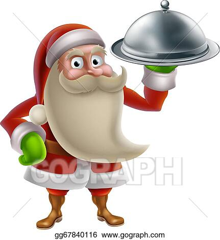 Vector Clipart Cartoon Santa Cooking Christmas Dinner Vector