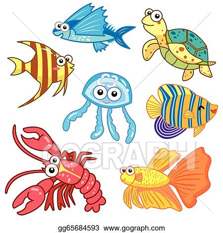 Vector Art Cartoon Sea Animals Set With White Background Eps