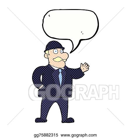 Eps Illustration Cartoon Sensible Business Man In Bowler Hat With