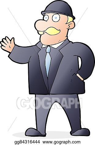 Vector Stock Cartoon Sensible Business Man In Bowler Hat Stock