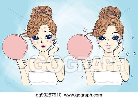 Clip Art Vector Cartoon Skin Care Woman Stock Eps Gg90257910 Gograph