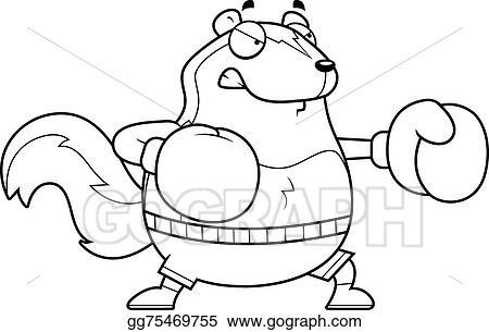 Vector Art Cartoon Skunk Boxing Clipart Drawing Gg75469755 Gograph
