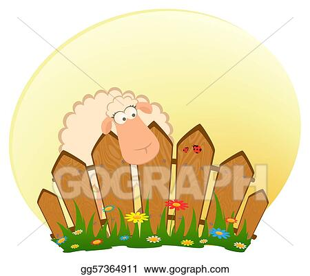 Stock Illustration Cartoon Smiling Sheep After A Fence Clipart - Cartoon fence clip art