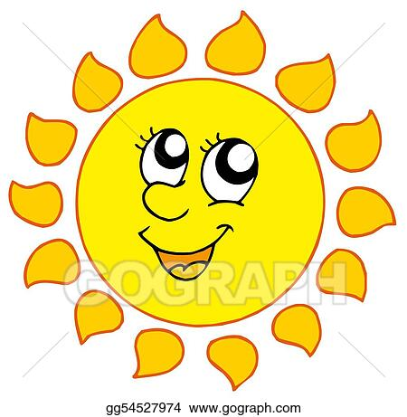 stock illustration cartoon smiling sun clipart drawing gg54527974 rh gograph com Smiling Sun Clip Art Black and White smiling sun with sunglasses clipart