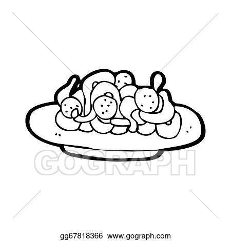 Stock Illustration - Cartoon spaghetti and meatballs ...