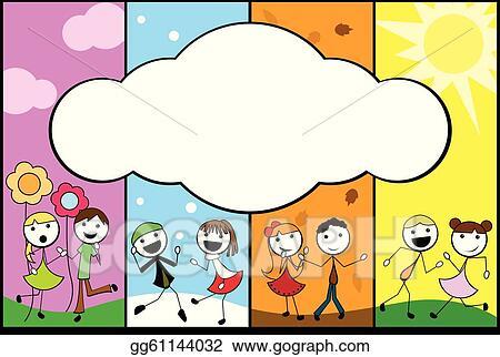 Clip Art Vector Cartoon Stick Children Background Four