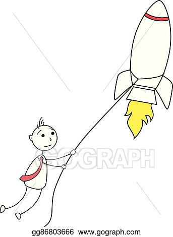 Clip Art Vector Cartoon Stick Man Catching A Rocket Stock Eps