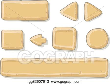 Vector Stock - Cartoon stone game ui assets set, isolated on