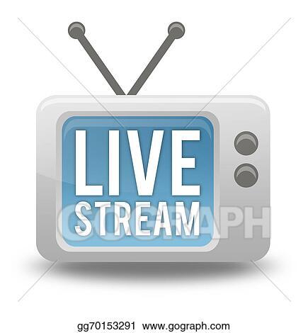 Stock Illustration - Cartoon-style tv icon live stream