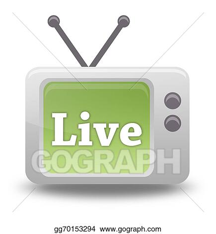 stock illustration cartoon style tv icon live stream clipart