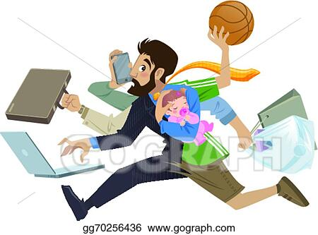 vector stock cartoon super busy man and father multitask doing rh gograph com
