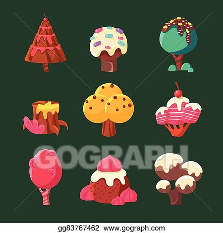 Christmas Candyland Clipart.Vector Clipart Cartoon Sweet Candy Land Collection Vector