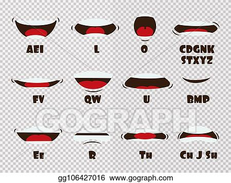 Eps Vector Cartoon Talking Mouth And Lips Expressions Vector Animations Poses Isolated On Transparent Background Stock Clipart Illustration Gg106427016 Gograph