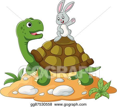 Vector Illustration Cartoon Turtle And Rabbit Eps Clipart