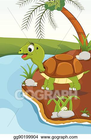 Vector Art Cartoon Turtle In Nature Clipart Drawing Gg90199904