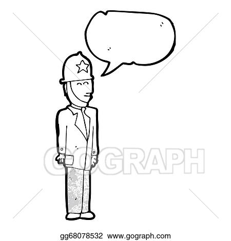 Drawings Cartoon Uniformed British Police Officer Stock