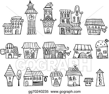 Vector Stock Cartoon Vector Fairy Tale Drawing Houses Clipart