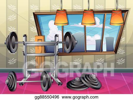 Vector stock cartoon vector illustration interior fitness room