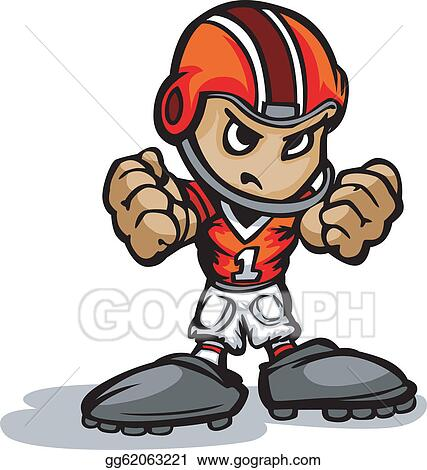 football fan clipart. vector stock - cartoon illustration of a football kid with hands in fists. clipart gg62063221 gograph fan