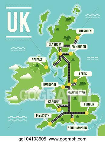 Map Of England Showing Cities.Vector Art Cartoon Vector Map Of United Kingdom Travel