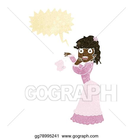 Drawing Cartoon Victorian Woman Dropping Handkerchief With Speech