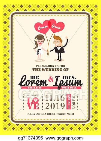 Clip Art Vector Cartoon Wedding Invitation Card Template Stock