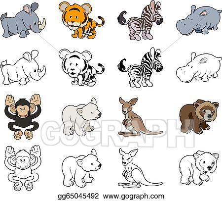 Vector Illustration Cartoon Wild Animal Illustrations Eps Clipart